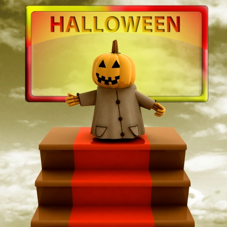 pumpkin standing on red carpet stairs yellow template render illustration illustration