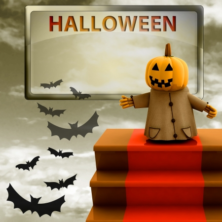 halloween pumpkin standing on red carpet stairs template render illustration illustration