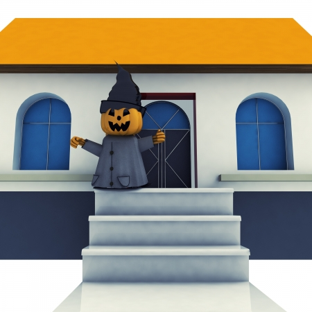 isolated halloween pumpkin witch  on house stairs background render illustration illustration