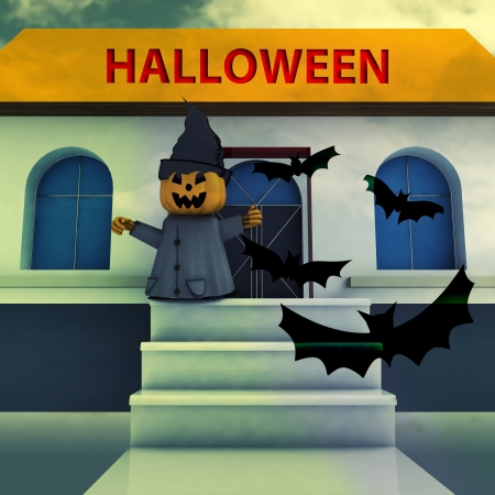 pumpkin witch on house stairs with halloween text and bats background render illustration illustration