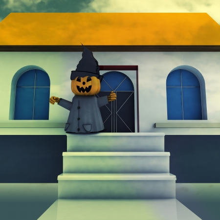 halloween pumpkin witch on house stairs at evening background render illustration illustration