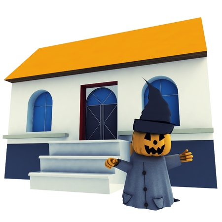 isolated halloween pumpkin witch in front of her house background render illustration illustration