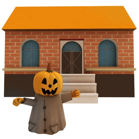 isolated halloween pumpkin witch in front of house background render illustration illustration