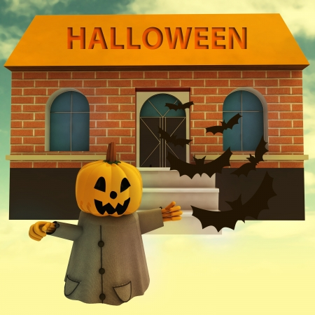 pumpkin witch in front of house with halloween text and bats background render illustration illustration