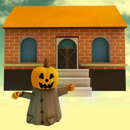 halloween pumpkin witch in front of house at sunset background render illustration illustration