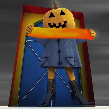 halloween pumpkin darkwitch holding editable stripe at night background render illustration Stock Illustration - 15794190