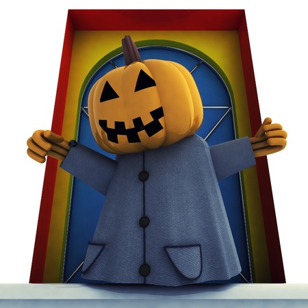 isolated halloween pumpkin witch in front of door background render illustration illustration
