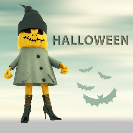 pumpkin witch with bats and blur background halloween text postcard render illustration illustration