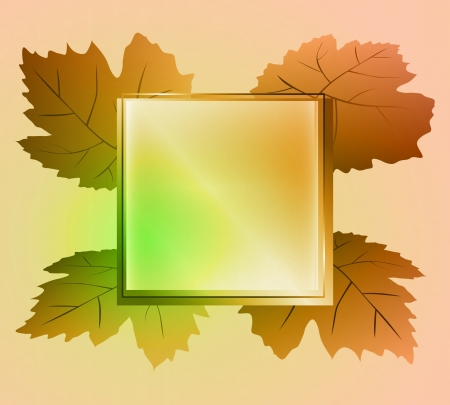 autumn brown colored square frame and wine leaves card vector Vector