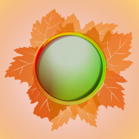 orange cool colored circle frame and wine leaves card vector Vector