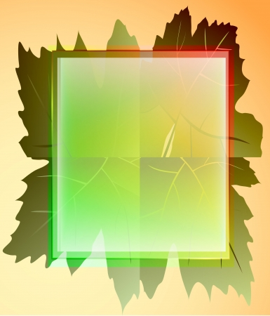 colorful square frame and wine leaves card vector Vector