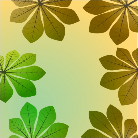 brown green colored chestnut leaves card vector backdrop or illustration Vector