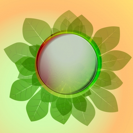 orange green colored circle button and chestnut leaves card vector backdrop or illustration Vector