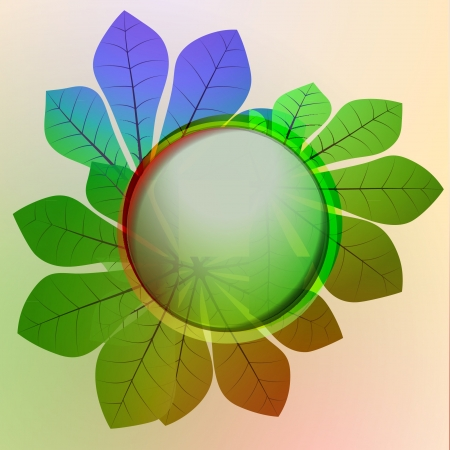 colorful circle frame and chestnut leaves card vector backdrop or illustration Vector