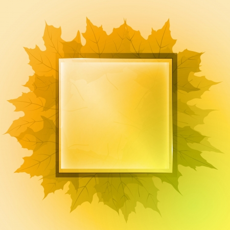 orange colored center square button card and maple leaves vector backdrop or illustration Vector