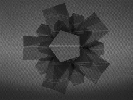alighted: central triangulated abstract shape black and white background Stock Photo