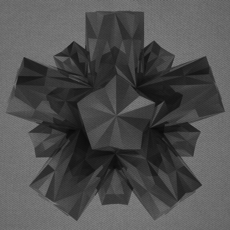 alighted: symmetric triangulated abstract shape black and white background Stock Photo