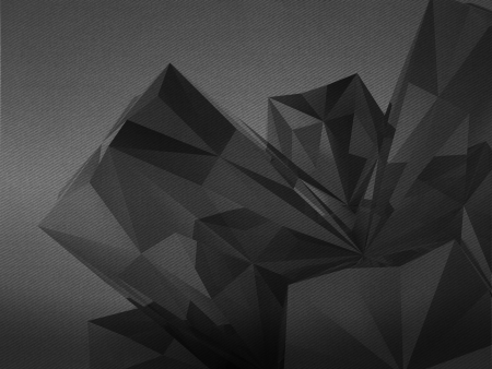 alighted: asymmetric triangulated abstract shape detail  black and white background Stock Photo