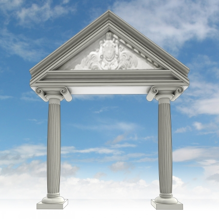 architrave: ancient ionic column gate with architrave and blue sky illustration