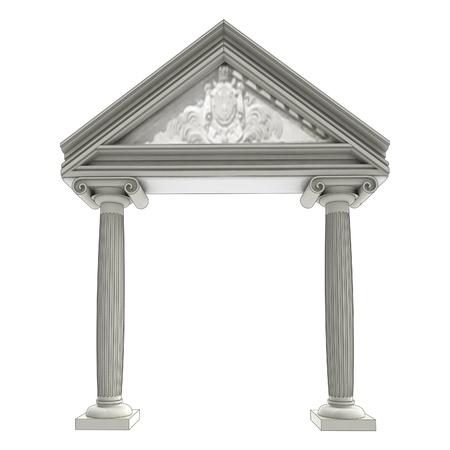 architrave: isolated ancient ionic column gate with architrave above illustration Stock Photo
