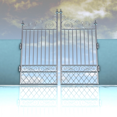 keys to heaven: closed metal steel baroque fence with sky background illustration