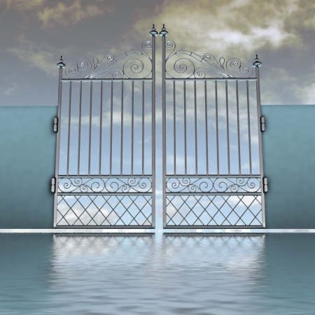 closed metal steel baroque fence behind water illustration illustration