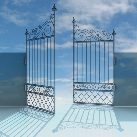 heavens gates: open metal steel baroque fence wit blue sky illustration