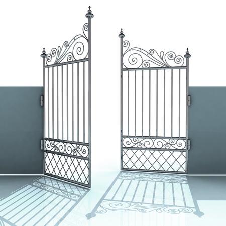 apriva: aperto metallo acciaio barocca recinzione illustrazione