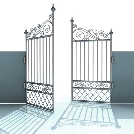 heavens gates: open metal steel baroque fence illustration