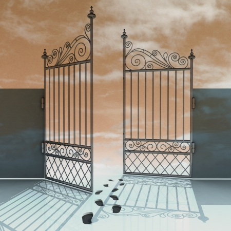 open gate: open iron fence with footprints in snow illustration