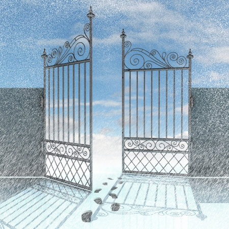 keys to heaven: open fence with footprints in snow winter landscape illustration