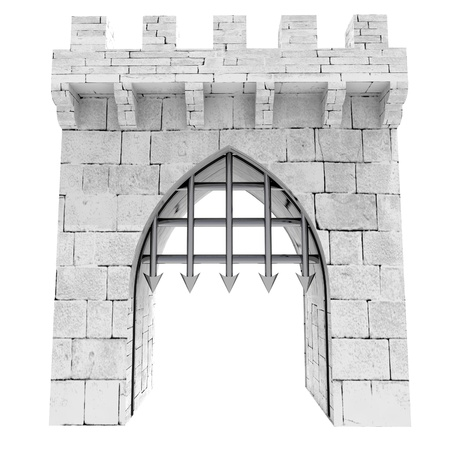 isolated medieval gate with steel lattice opening illustration illustration