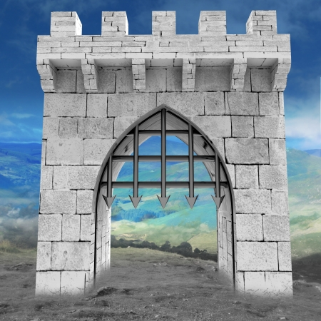 medieval gate with steel lattice opening with mountain landscape illustration illustration