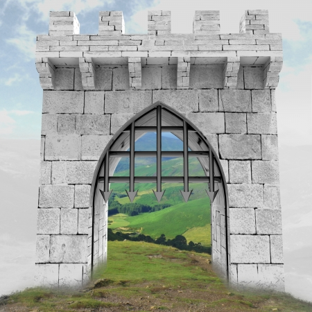 medieval gate with steel lattice opening in mistillustration illustration