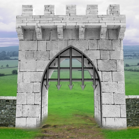 medieval gate with steel lattice opening with landscape illustration illustration