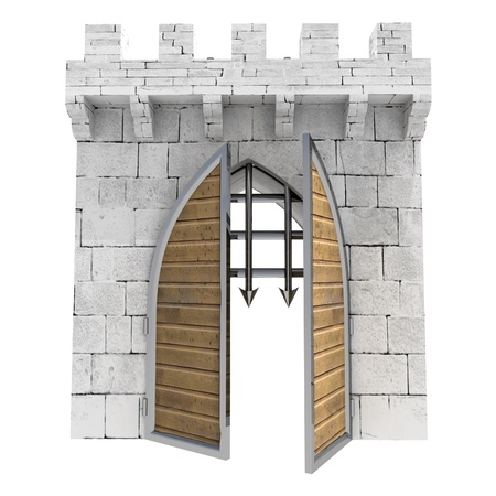 isolated medieval gate opening doors illustration illustration