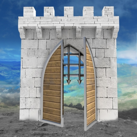 medieval gate opening doors with mountain landscape illustration illustration