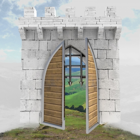 medieval gate opening doors in mist illustration illustration