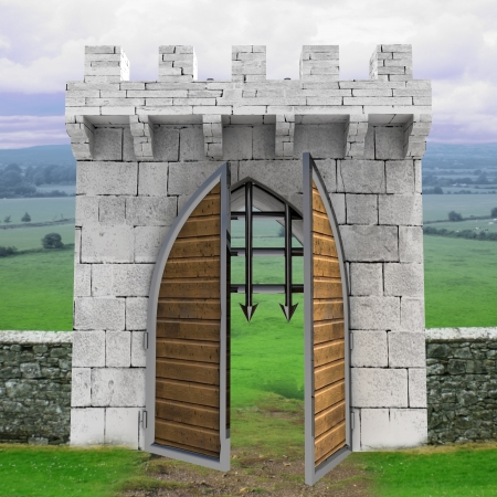 medieval gate opening doors with landscape illustration illustration