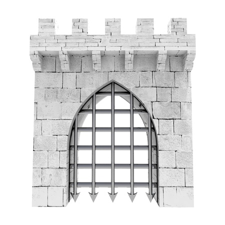 isolated closed medieval gate with steel lattice down illustration