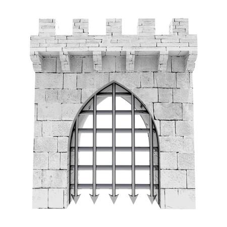 bollwerk: isolierten geschlossen mittelalterlichen Stadttor mit Stahlgitter unten Abbildung