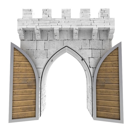 open gate: isolated opened medieval gate with wood door illustration