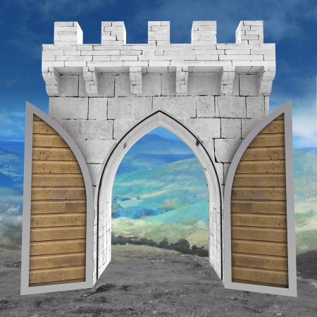 opened medieval gate border with wood door in landscape illustration illustration
