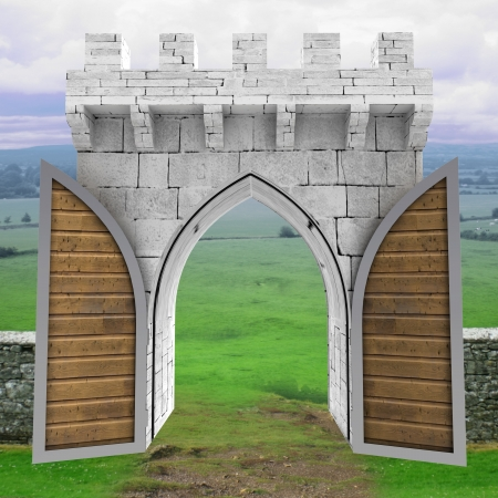 opened medieval gate with wood door in landscape illustration illustration