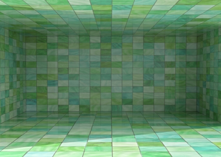 alighted: tile covered bright room interior background illustration