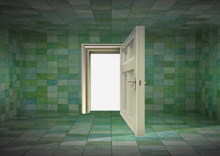 tile covered room interior and open door to space illustration illustration