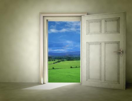 pathway to green landscape from dark room illustration Standard-Bild