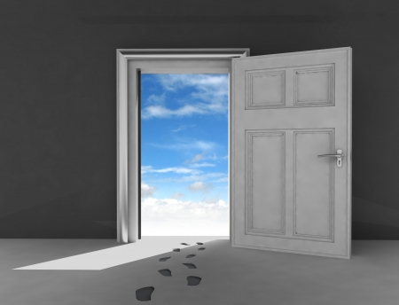 open door to heaven space with footprints illustration illustration