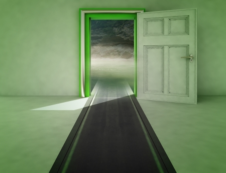 open door with highway path to nature with shadow illustration Stock Illustration - 15935916