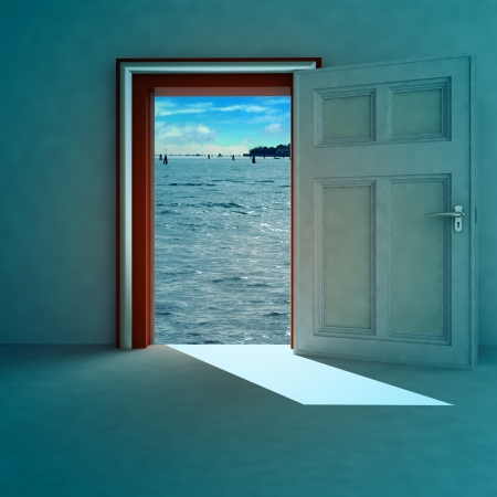 open door to heaven space with red frame and shadow render illustration illustration